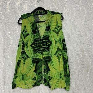 Worthington Woman 2x Floral Leafy Yellow Green Sle